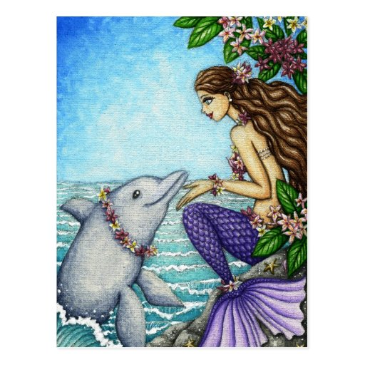 Mermaid and Dolphin Friend Postcard
