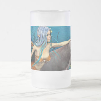 Mermaid and Dolphin Frosted Glass Beer Mug