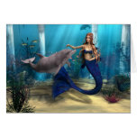 Mermaid and Dolphin Greeting Cards