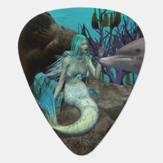 Mermaid and Dolphin Guitar Pick