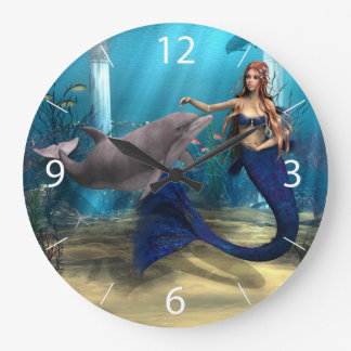 Mermaid and Dolphin Large Clock