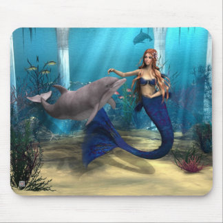 Mermaid and Dolphin Mouse Pad