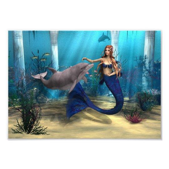 Mermaid and Dolphin Photo Print
