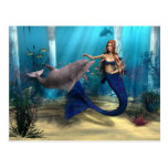 Mermaid and Dolphin Postcard