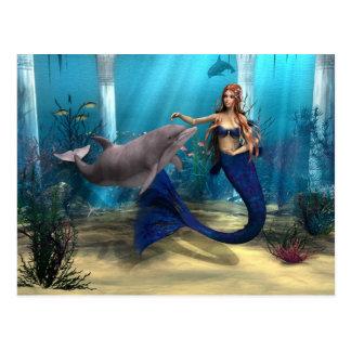 Mermaid and Dolphin Postcard