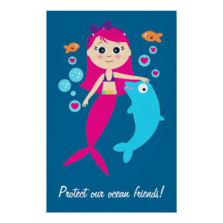 Mermaid and Dolphin: Protect our Ocean Friends! Poster