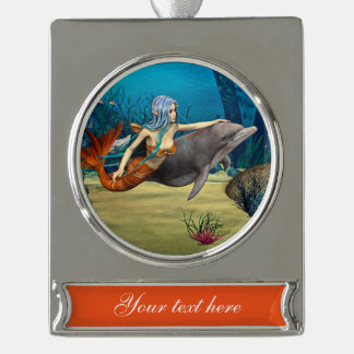 Mermaid and Dolphin Silver Plated Banner Ornament