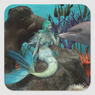 Mermaid and Dolphin Square Sticker