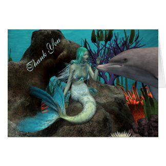 Mermaid and Dolphin Thank You Card Cards