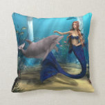 Mermaid and Dolphin Throw Pillows