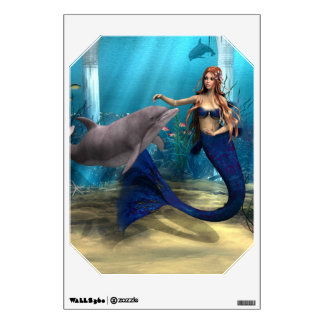 Mermaid and Dolphin Wall Decal