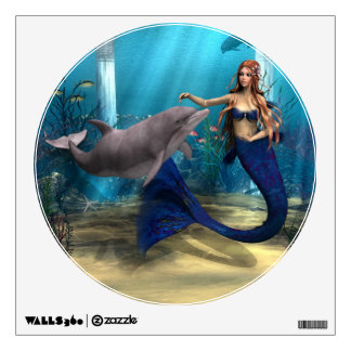 Mermaid and Dolphin Wall Sticker
