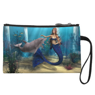 Mermaid and Dolphin Wristlet Wallet