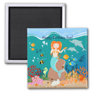 Mermaid and dolphins birthday party 2 inch square magnet