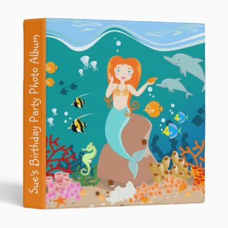 Mermaid and dolphins birthday party 3 ring binder