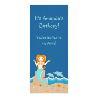 Mermaid and dolphins birthday party 4x9.25 paper invitation card