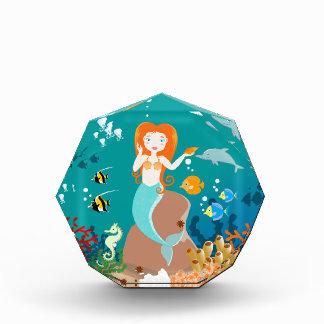 Mermaid and dolphins birthday party acrylic award