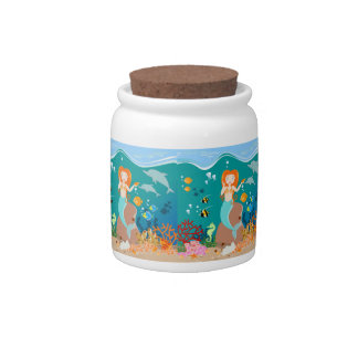 Mermaid and dolphins birthday party candy jar