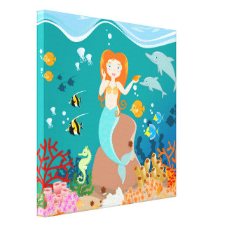 Mermaid and dolphins birthday party canvas print