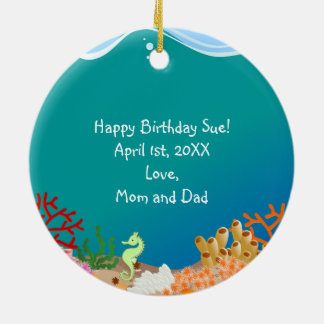 Mermaid and dolphins birthday party ceramic ornament