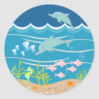 Mermaid and dolphins birthday party classic round sticker