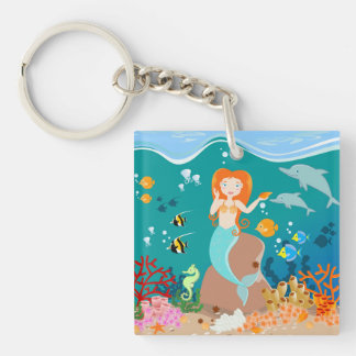 Mermaid and dolphins birthday party Double-Sided square acrylic keychain