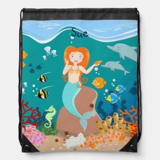 Mermaid and dolphins birthday party drawstring bag