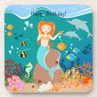 Mermaid and dolphins birthday party drink coaster