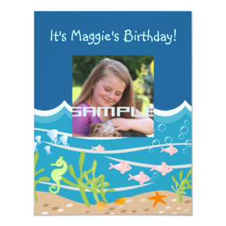"""Mermaid and dolphins birthday party 4.25"""" x 5.5"""" invitation card"""