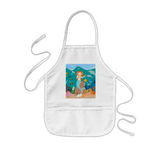 Mermaid and dolphins birthday party kids' apron