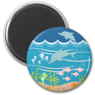 Mermaid and dolphins birthday party magnet