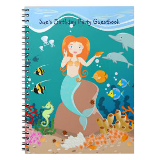Mermaid and dolphins birthday party notebook
