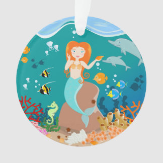 Mermaid and dolphins birthday party ornament