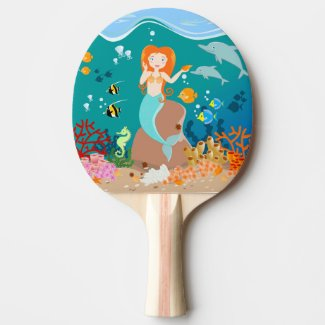 Mermaid and dolphins birthday party ping pong paddle