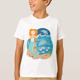 Mermaid and dolphins birthday party T-Shirt
