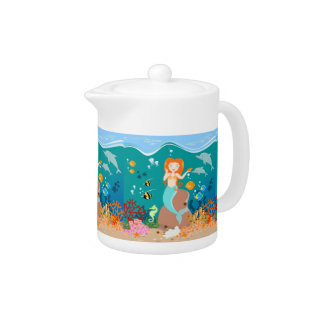 Mermaid And Dolphins Birthday Party Teapot at Zazzle