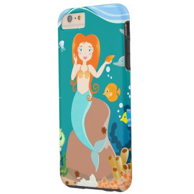 Mermaid and dolphins birthday party tough iPhone 6 plus case