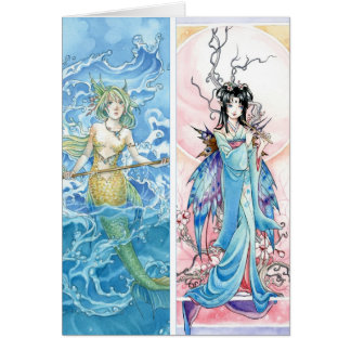 Mermaid and Fairy bookmarks Card