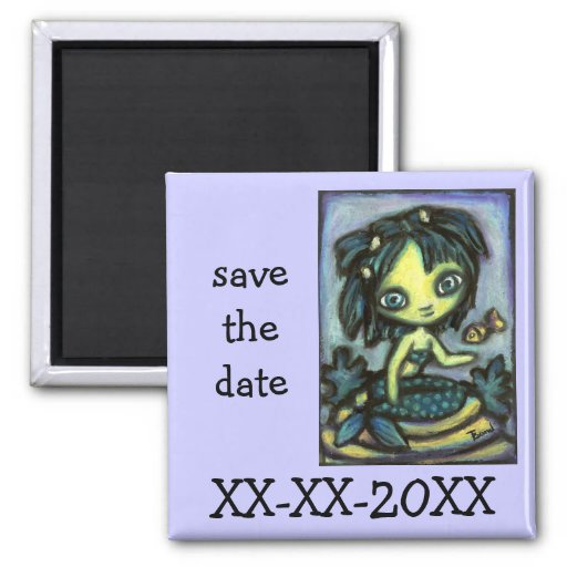 Mermaid and fish 2 inch square magnet