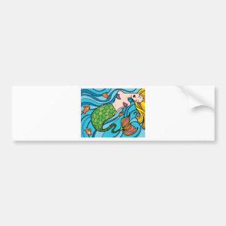 Mermaid and Fish Cartoon Bumper Sticker