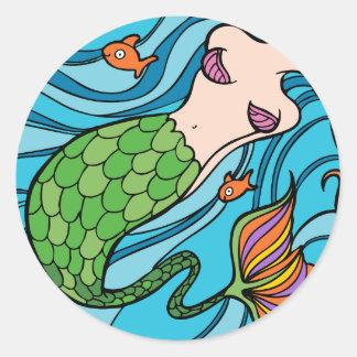 Mermaid and Fish Cartoon Classic Round Sticker