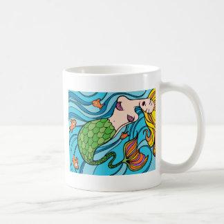 Mermaid and Fish Cartoon Coffee Mug