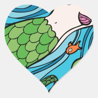 Mermaid and Fish Cartoon Heart Sticker