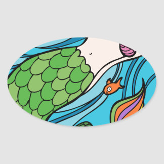 Mermaid and Fish Cartoon Oval Sticker