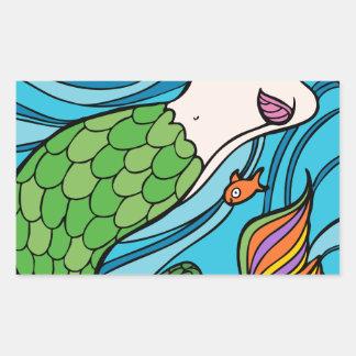 Mermaid and Fish Cartoon Rectangular Sticker