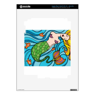 Mermaid and Fish Cartoon Skin For iPad 3