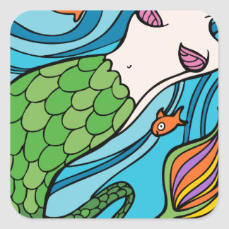 Mermaid and Fish Cartoon Square Sticker