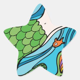 Mermaid and Fish Cartoon Star Sticker