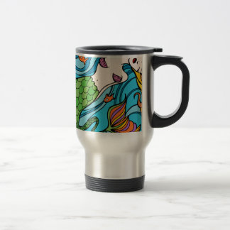 Mermaid and Fish Cartoon Travel Mug