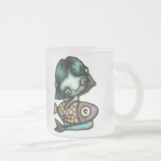 Mermaid-and-fish Frosted Glass Coffee Mug